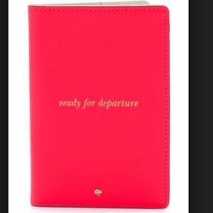 kate spade bon voyage red passport holder nwot